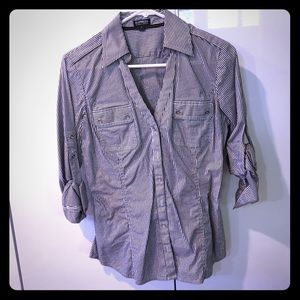 Roll up button down blouse